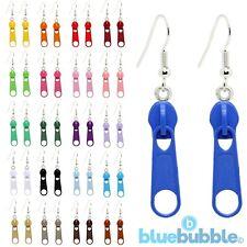 Bluebubble ZIP IT Dangle Earrings Funky Fun Kitsch 80s Cool Rock Chick Emo Goth