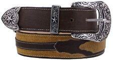 Mens Honey Grain Leather Overlay Western Cowboy Belt Silver Buckle