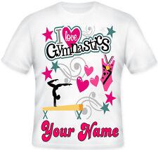 GIRLS KIDS I LOVE GYMNASTICS PERSONALISED KIDS T SHIRT GREAT GIFT IDEA
