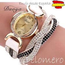 OFERTON! Reloj de pulsera ELEGANTE diamantes imitacion DOBLE VUELTA Watch muñeca