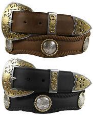 "The Lord Jim - Western Genuine Leather Jean Belt 1-1/2"" Wide, Black Brown"