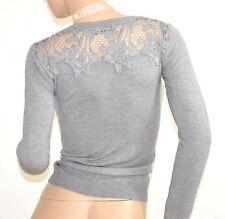 MAGLIETTA GRIGIO cardigan donna  maglia maglione sottogiacca ricamata F115