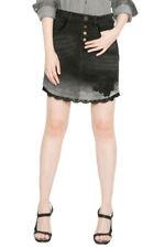 Desigual Black Dip Dye Denim Blanche Skirt Embroidered 28-34 UK 10-16 RRP �94