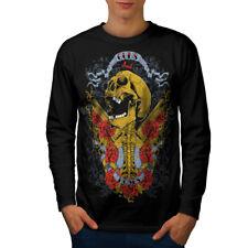 Wellcoda Guns And Roses Skull Mens Long Sleeve T-shirt, Music Graphic Design