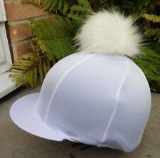 HY Bleu marine//vert pom pom chapeau d/'équitation Couverture en soie pour Jockey caps taille unique