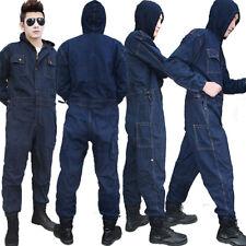 Mens Denim Jeans Overalls Coveralls Workwear Jumpsuit Decorator Mechanic Uniform