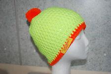 Boshi Mütze Beanie Mütze gehäkelt mit oder ohne Bommel Neongelb