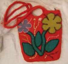 BEAUTIFUL ARTISTIC UNIQUE STUDIO HAND BAG RED WOOL/FELT FLOWERS REALLY COOL FUNK