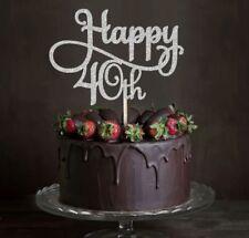 HAPPY 40TH BIRTHDAY 40 GLITTER CAKE TOPPER MILESTONE FORTY