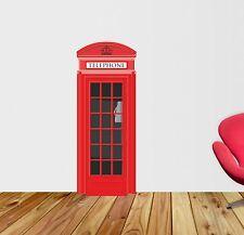 LARGE ROSSA Telefono Box Adesivo Parete Arte vinile, grafica, Decalcomania lv67