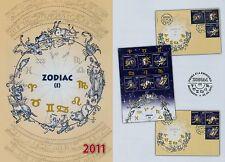 Rumänien 2011 Tierkreiszeichen (I),ZODIAC,Mi.6524-29,Zf.,KB,Block 502,FDC