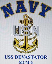 USS DEVASTATOR  MCM-6* MINE COUNTERMEASURES* U.S NAVY W/ ANCHOR* SHIRT