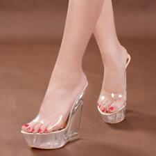 Clear Womem's Slipper Sandals Shoes Transparent Wedge Platform High Heel Fashion