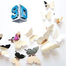 Effet mirroir - 12 Stickers Muraux Papillons 3D décoration mur mural chambre
