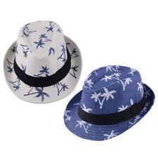 Kids Children Boy Summer Beach Straw Hat Fedora Trilby Men Jazz Cap Coconut Tree