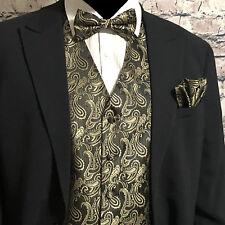 BLACK GOLD Paisley Tuxedo Suit Dress Vest Waistcoat & Bowtie Hankie Wedding Prom