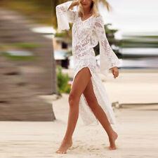 Women Sexy Long Flare Sleeve Hollowed Backless Split Beach Dress Bikini Cover up