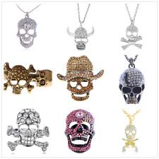 Lots Halloween Scary Skull Crystal Rhinestone  Earrings Ring  Necklace Key gift