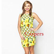 Ladies Overlap Back Detail Yellow & White Sunflower Dress