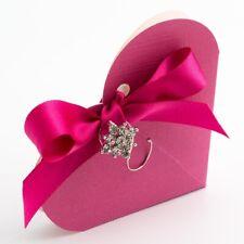FUCHSIA TEXTURED HEART WEDDING FAVOUR BOXES DIY BOX