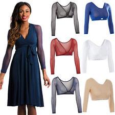 Women Ladies Sheer Mesh See-through Long Sleeve Crop Tops T-Shirt Blouse Shirts