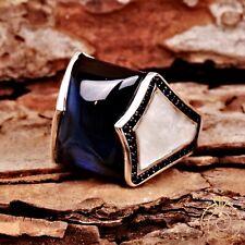 Unique Men Sapphire Eternity Band Authentic Handmade Silver Blue Stone Male Ring