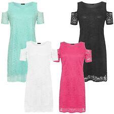 New Ladies Plus Size Off Shoulder Cut Out Sleeve Party Dress 14-28