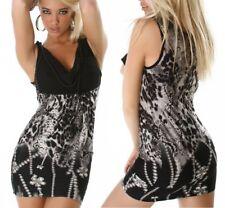 SeXy Miss Damen Mini Kleid Longtop 34 36 schwarz weiß grau Kette Party Dress NEU