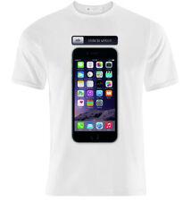 T-shirt uomo Slide to unlock, phone inspired, stampa smartphone gigante