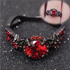 Jewelry Engagement Black Gold Filled Wedding Rings Zircon Stone Red Garnet
