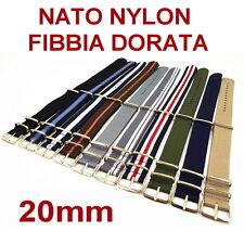 CINTURINO OROLOGIO NATO NYLON FIBBIA DORATA ORO 20mm NERO BLU GRIGIO ARANCIONE