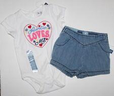 baby Gap NWT Girl 0 3  6 12 18 24 Mo Outfit Set Aunt Top + Chambray Jean Shorts