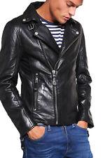 Men's Stylish Motorcycle Biker Genuine Lambskin Nappa Leather Jacket Mj 93