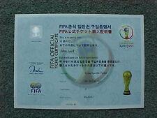 2002 CAMPIONATI DEL MONDO FIFA Ufficiale certificato BIGLIETTO-VST per daegu-ottime condizioni