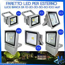 FARO FARETTO LED LUCE BIANCA 10W 20W 30W 50W 80W 100W PER ESTERNO GIARDINO MSG
