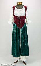 Renaissance Peasant Woman Pirate Wench 2 Pc. Green White & Burg. Dress & Vest