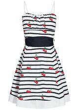 50% OFF B18042229 Damen Aiki Kleid kurz Streifen & Kirschen Brustpads weiß blau
