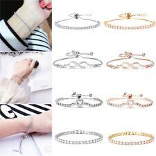 Women's Heart Rhinestone Crystal Bracelet Adjustable Bangle Fashion Cuff Jewelry