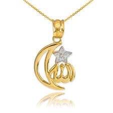 10k Gold Diamond Crescent Moon Allah Pendant Necklace
