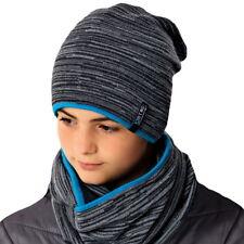 AJS Jungen Winterset Wintermütze gefüttert Beanie Mütze Loopschal mit Wolle