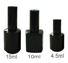 BLACK UV EMPTY NAIL POLISH GLASS BOTTLES FRANKEN BOTTLE BRUSH & CAP 4.5 10 15ml