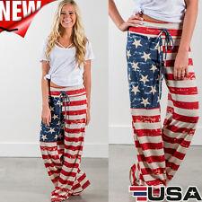 Fashion Women American Flag Drawstring Wide Leg Long Pants Leggings Casual Pants