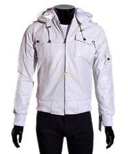 Pilot 6 White Men's Classic Hooded Aviator Style Soft Lambskin Leather Jacket