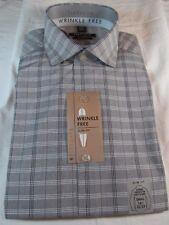 NWT VAN HEUSEN WRINKLE FREE OXFORD SLIM FIT DRESS SHIRT, Grey Frost Plaid