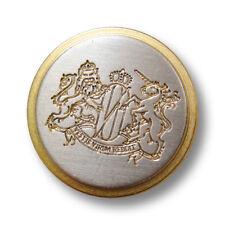 5 zeitlose flache Metall Ösen Knöpfe mit Wappen für Blazer in Bicolor (3705go)