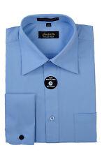 Mens French Cuff Dress Shirt Light Blue Wrinkle-Free Cotton Blend Modern Amanti