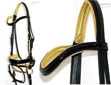 FSS PATENT BLACK GLOSS Comfort CURVE METALLIC GOLD Padded German Dressage Bridle