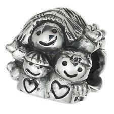 Sterling Silver Mother & Kids Happy Love Family Bead For European Charm Bracelet