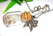Glasfläschchen Anhänger +++ Einzelstücke Unikate +++ Halskette Pusteblume Kette