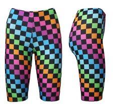 Women's Rainbow Multi Checkerboard Check Squares Checker Cycling Cycle Shorts